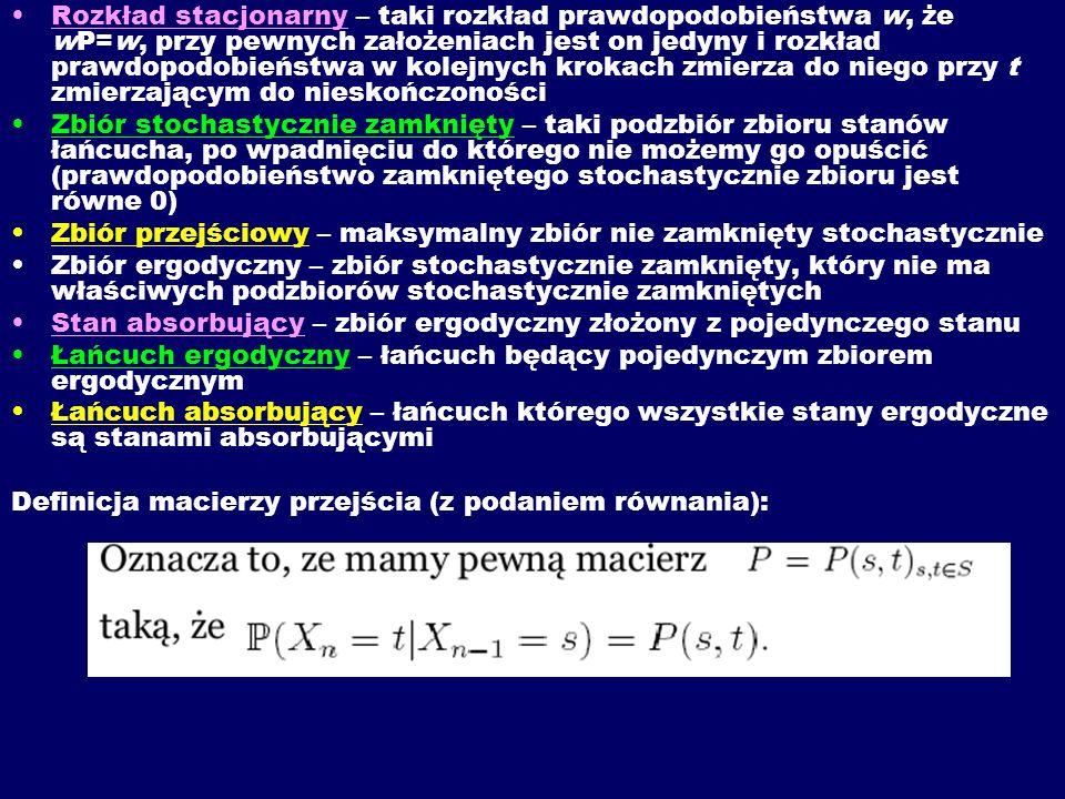Rozkład stacjonarny – taki rozkład prawdopodobieństwa w, że wP=w, przy pewnych założeniach jest on jedyny i rozkład prawdopodobieństwa w kolejnych krokach zmierza do niego przy t zmierzającym do nieskończoności