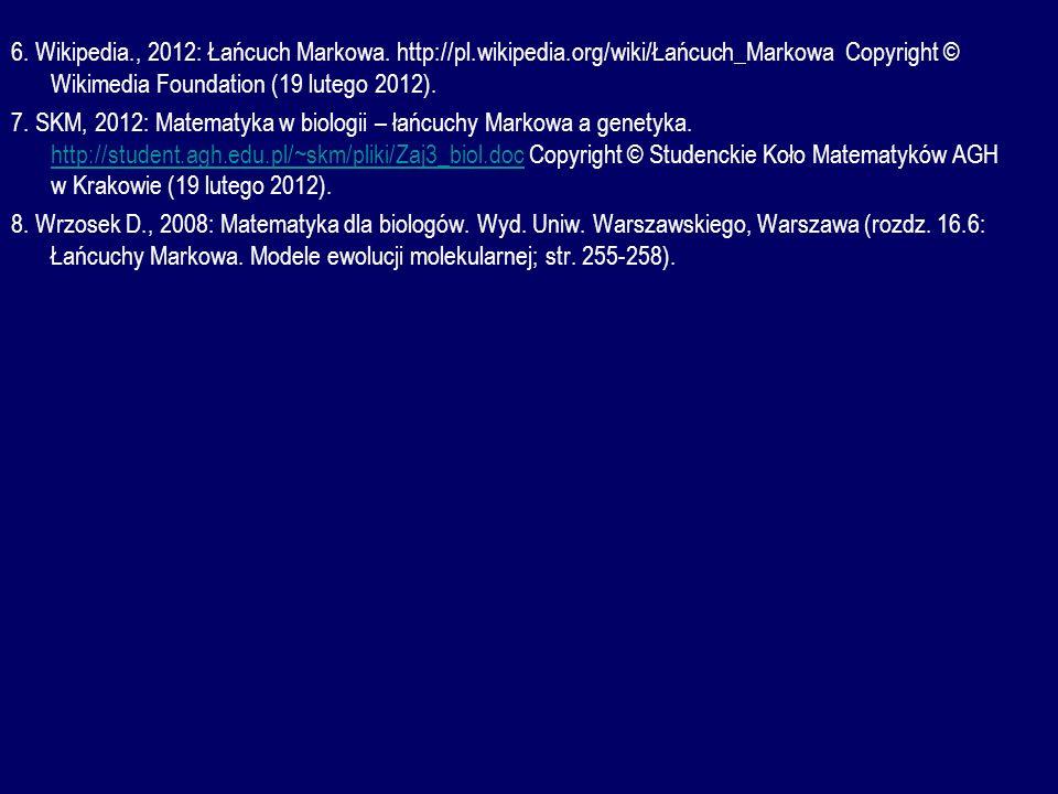 6. Wikipedia. , 2012: Łańcuch Markowa. http://pl. wikipedia