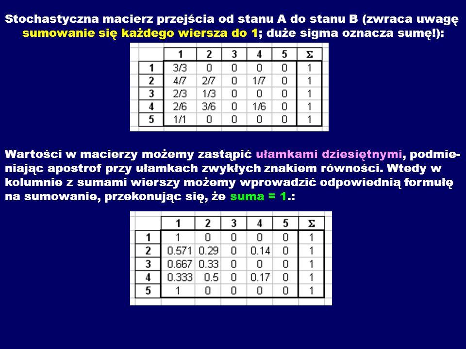 Stochastyczna macierz przejścia od stanu A do stanu B (zwraca uwagę sumowanie się każdego wiersza do 1; duże sigma oznacza sumę!):