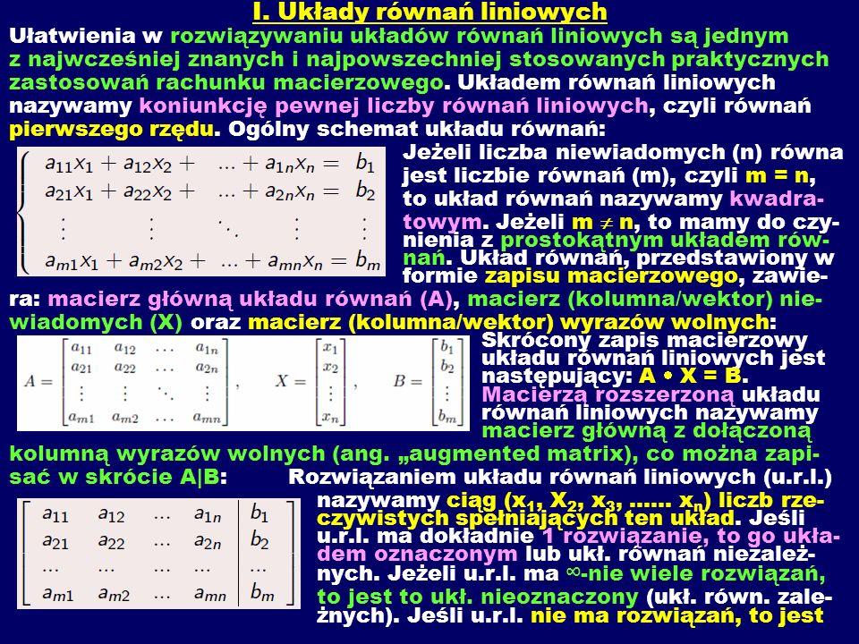 I. Układy równań liniowych