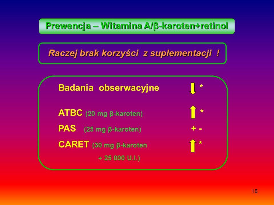 Prewencja – Witamina A/β-karoten+retinol