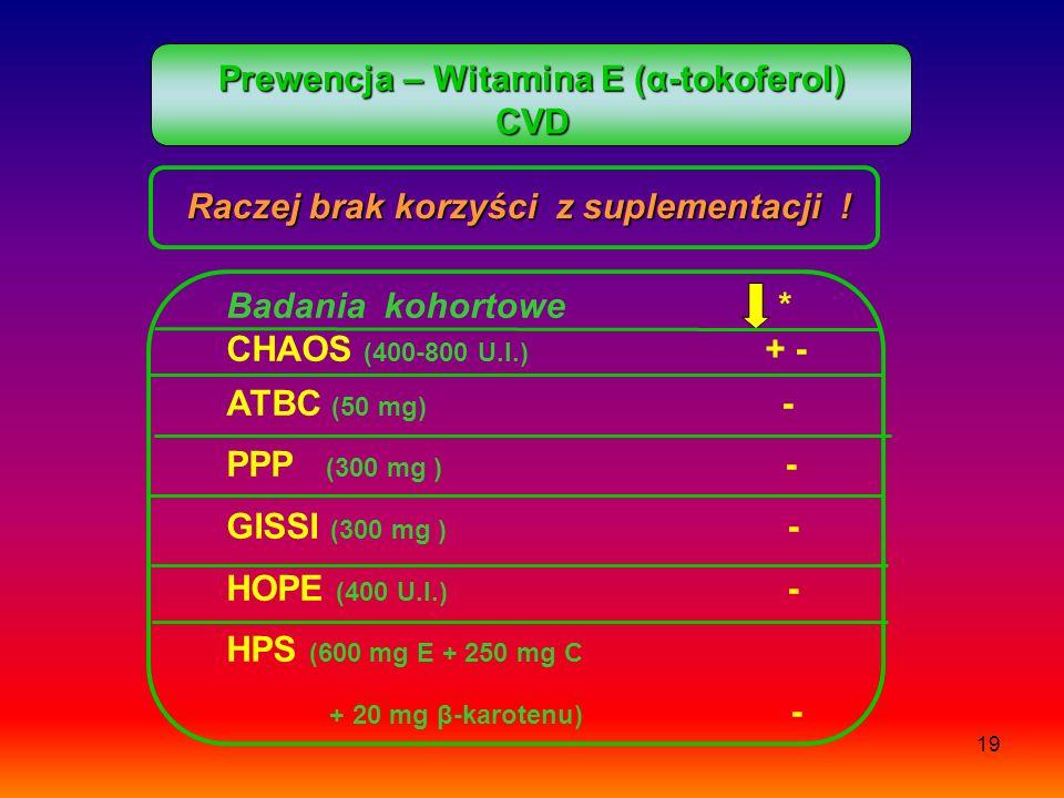 Prewencja – Witamina E (α-tokoferol) CVD