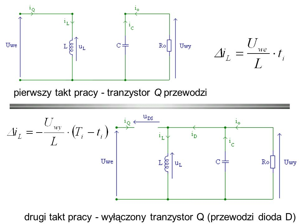 pierwszy takt pracy - tranzystor Q przewodzi