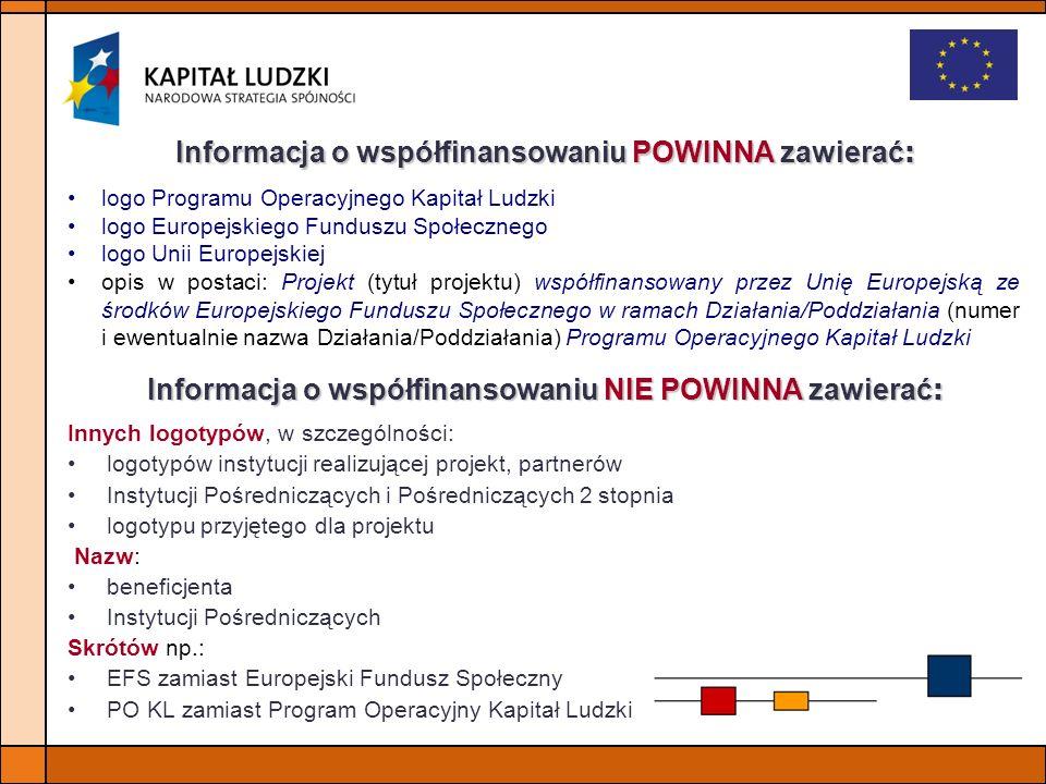 Informacja o współfinansowaniu NIE POWINNA zawierać: