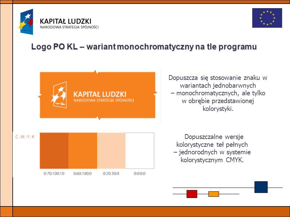 Logo PO KL – wariant monochromatyczny na tle programu