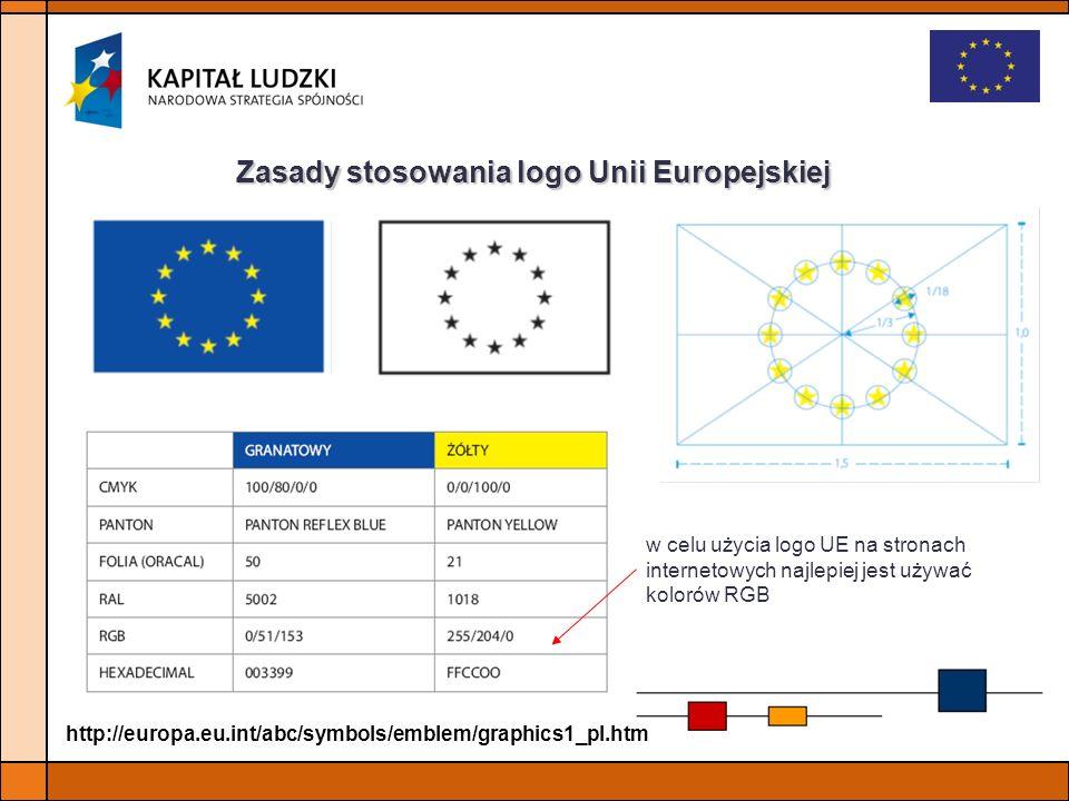 Zasady stosowania logo Unii Europejskiej