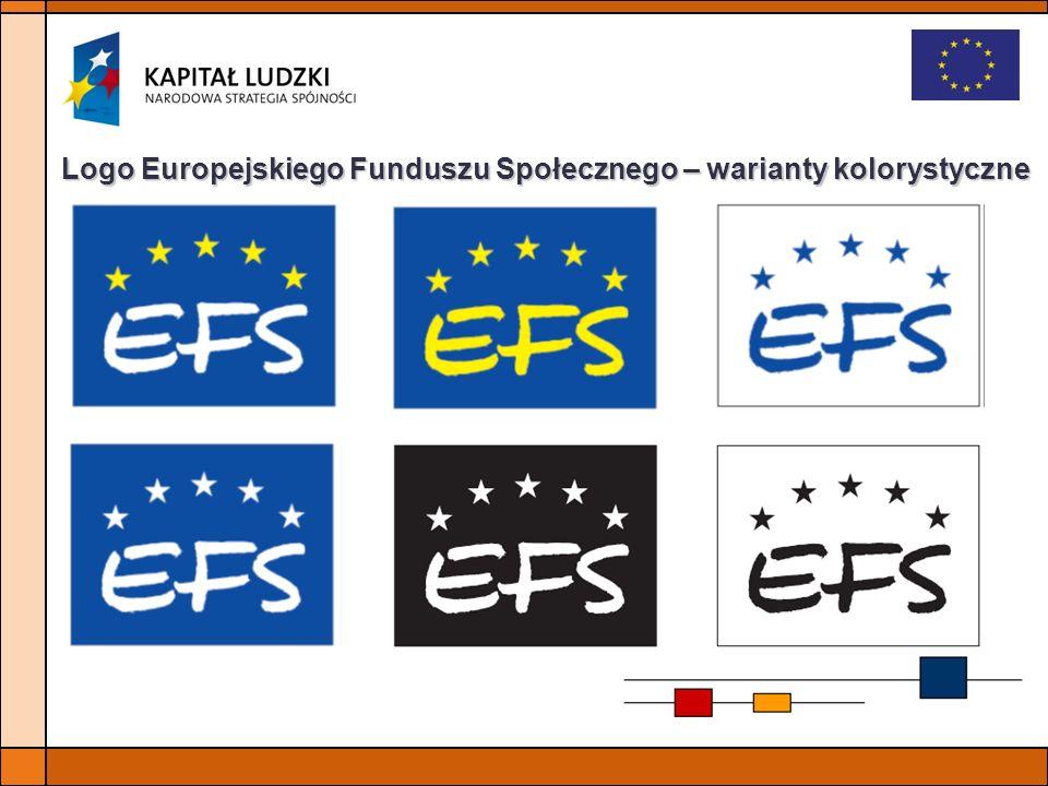 Logo Europejskiego Funduszu Społecznego – warianty kolorystyczne