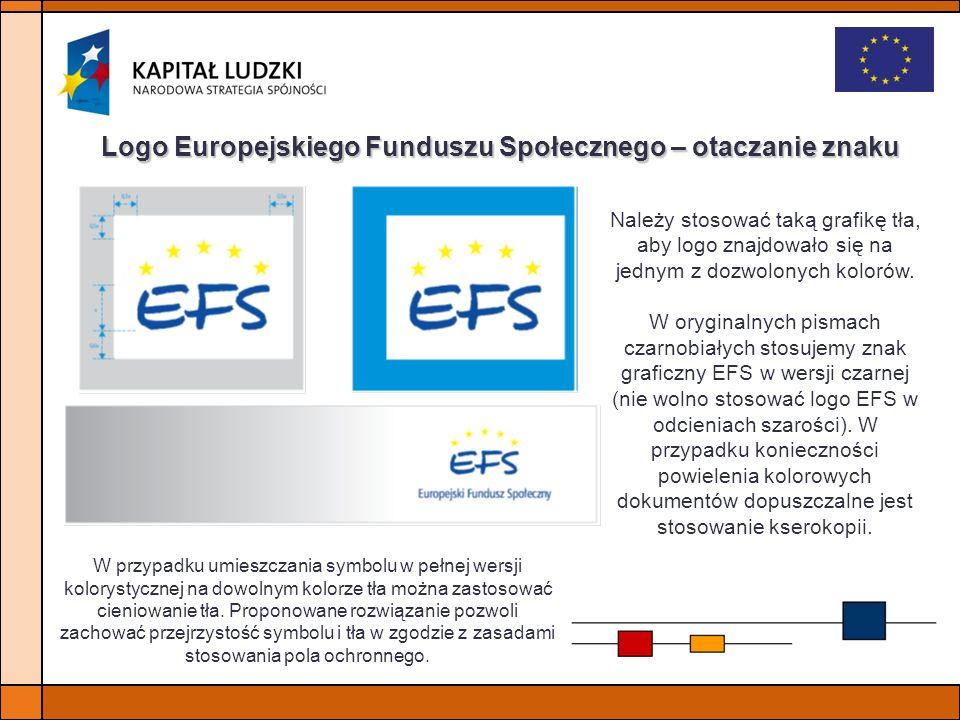 Logo Europejskiego Funduszu Społecznego – otaczanie znaku