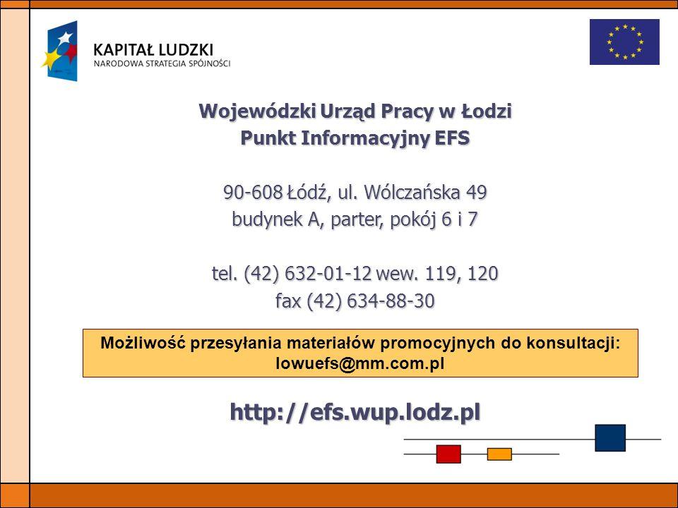 http://efs.wup.lodz.pl Wojewódzki Urząd Pracy w Łodzi