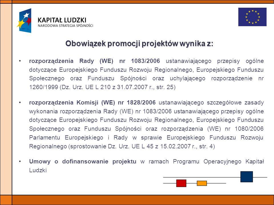 Obowiązek promocji projektów wynika z: