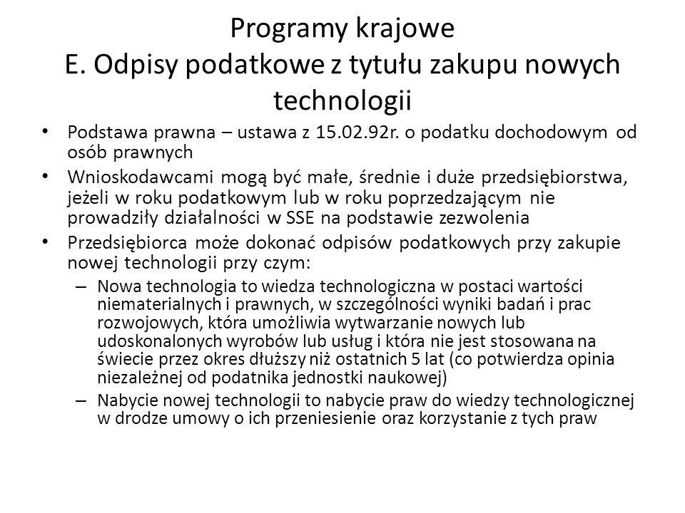 Programy krajowe E. Odpisy podatkowe z tytułu zakupu nowych technologii