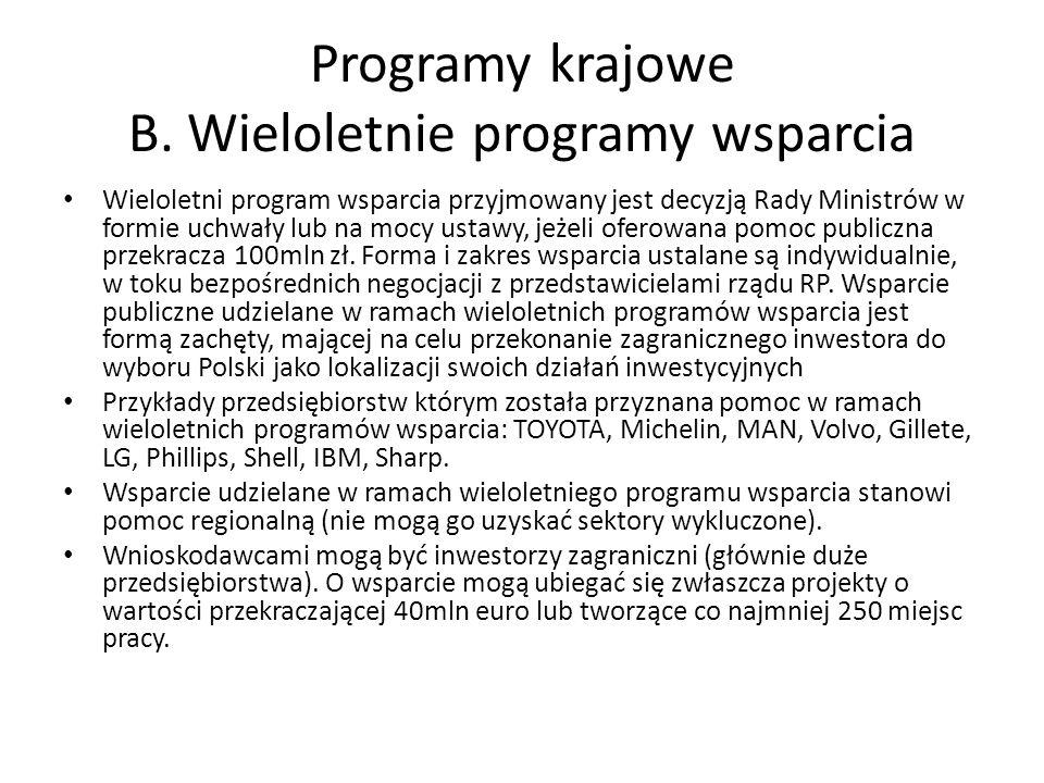 Programy krajowe B. Wieloletnie programy wsparcia