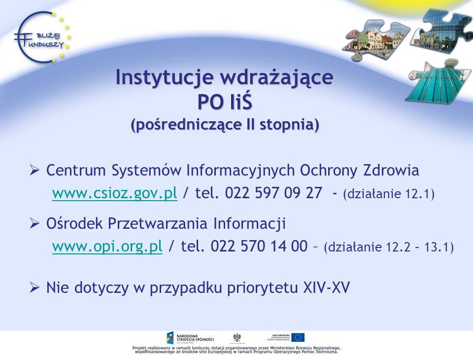 Instytucje wdrażające PO IiŚ (pośredniczące II stopnia)