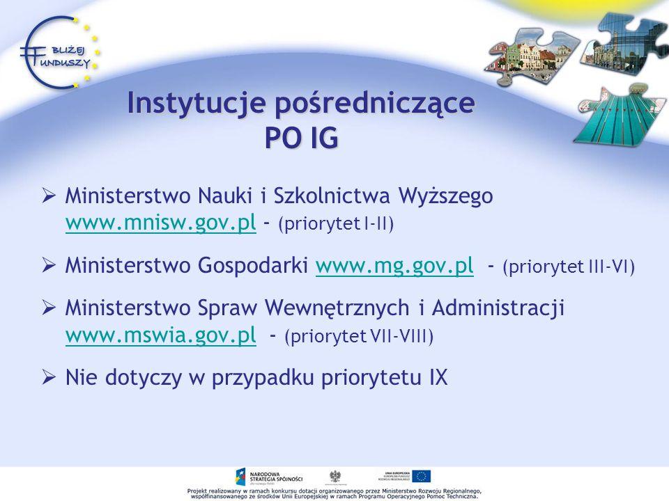 Instytucje pośredniczące PO IG
