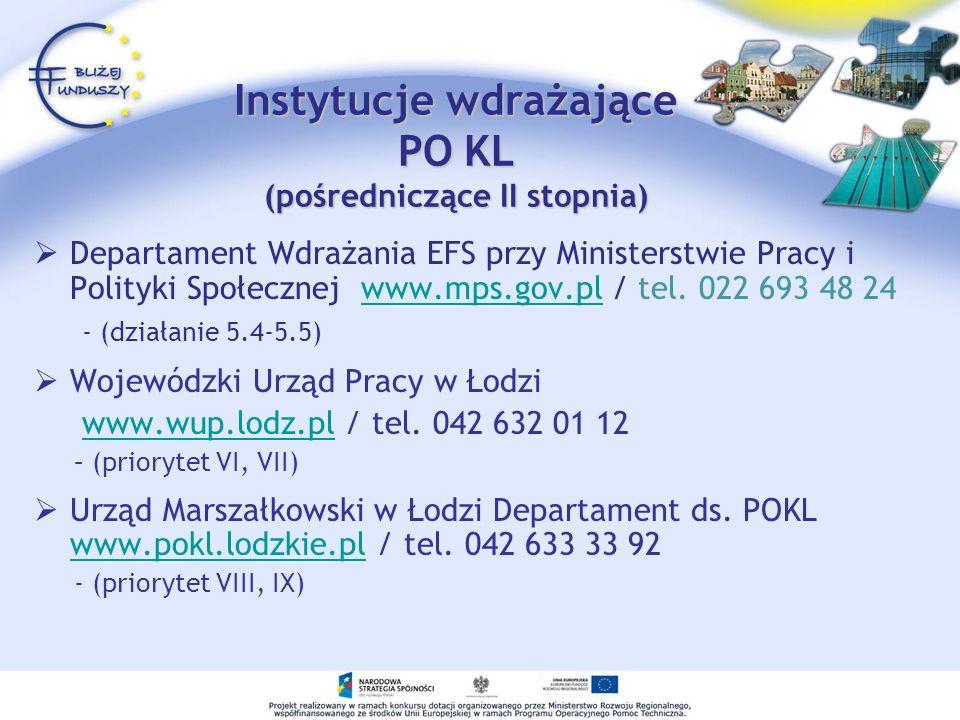 Instytucje wdrażające PO KL (pośredniczące II stopnia)