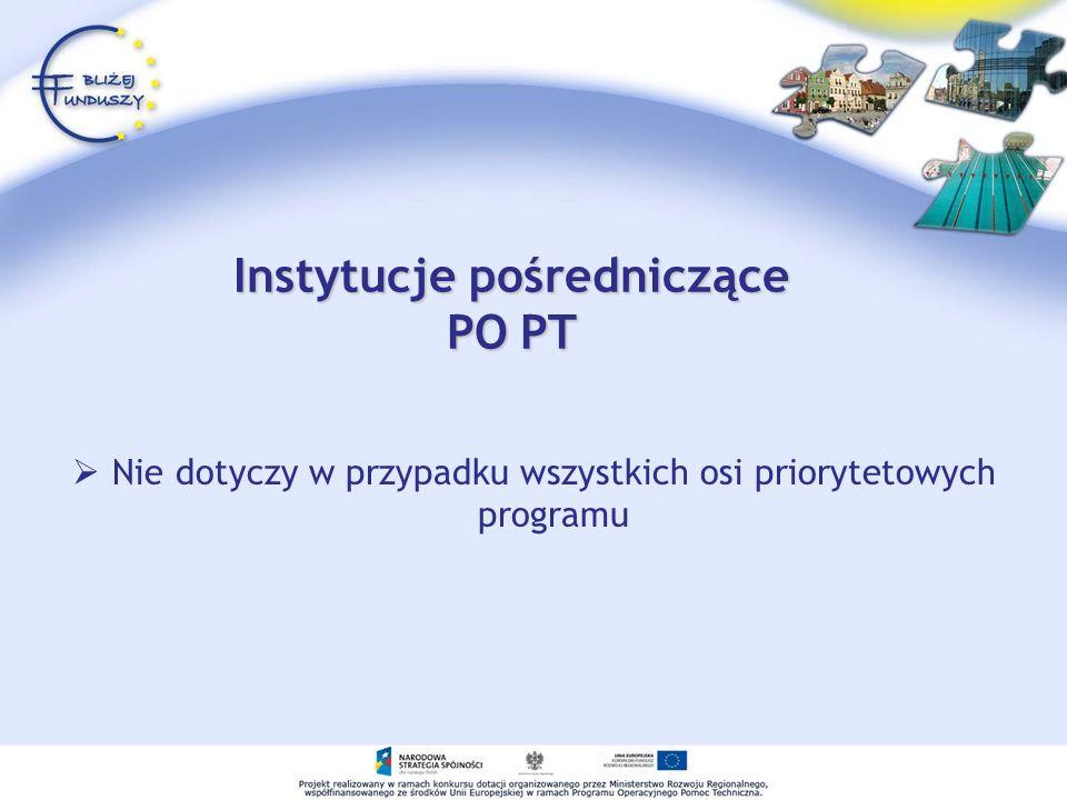 Instytucje pośredniczące PO PT