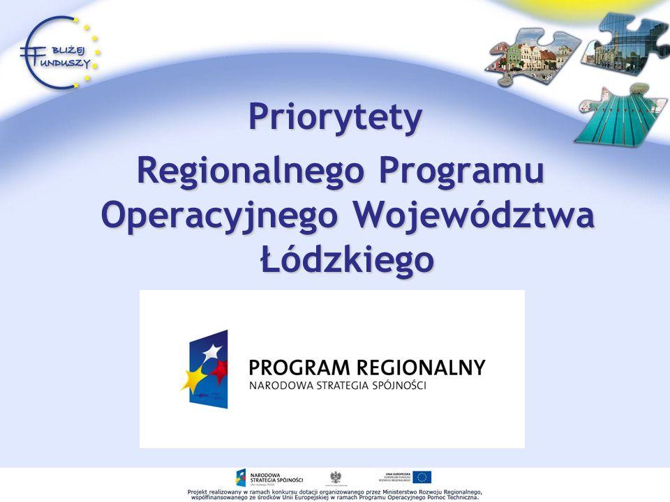 Priorytety Regionalnego Programu Operacyjnego Województwa Łódzkiego