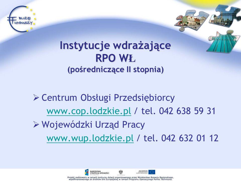 Instytucje wdrażające RPO WŁ (pośredniczące II stopnia)