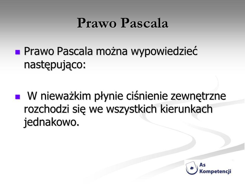 Prawo Pascala Prawo Pascala można wypowiedzieć następująco: