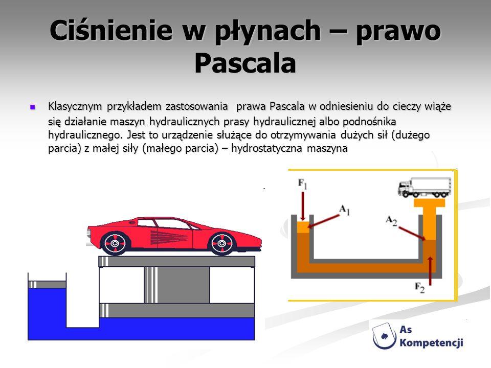 Ciśnienie w płynach – prawo Pascala