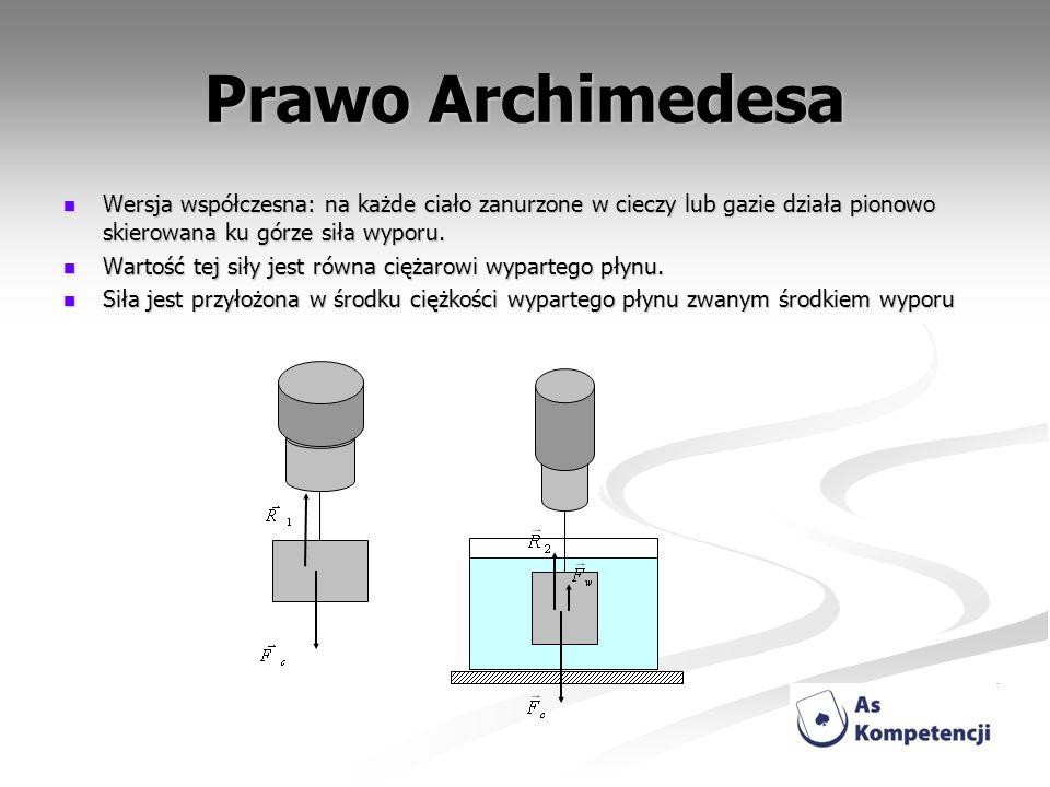 Prawo Archimedesa Wersja współczesna: na każde ciało zanurzone w cieczy lub gazie działa pionowo skierowana ku górze siła wyporu.