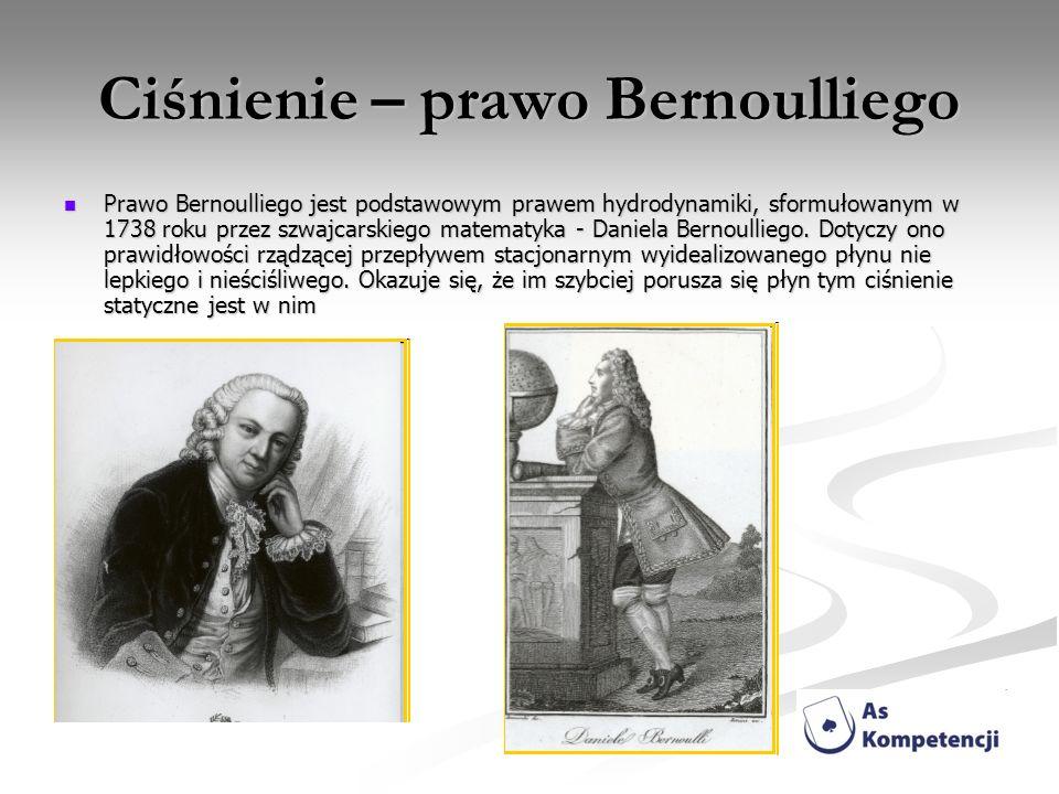 Ciśnienie – prawo Bernoulliego