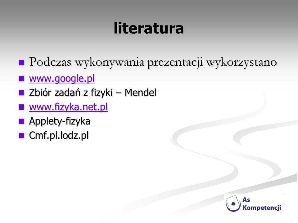literatura Podczas wykonywania prezentacji wykorzystano www.google.pl