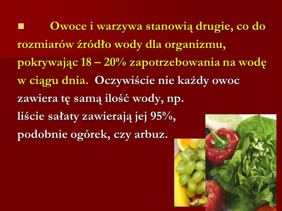 Owoce i warzywa stanowią drugie, co do