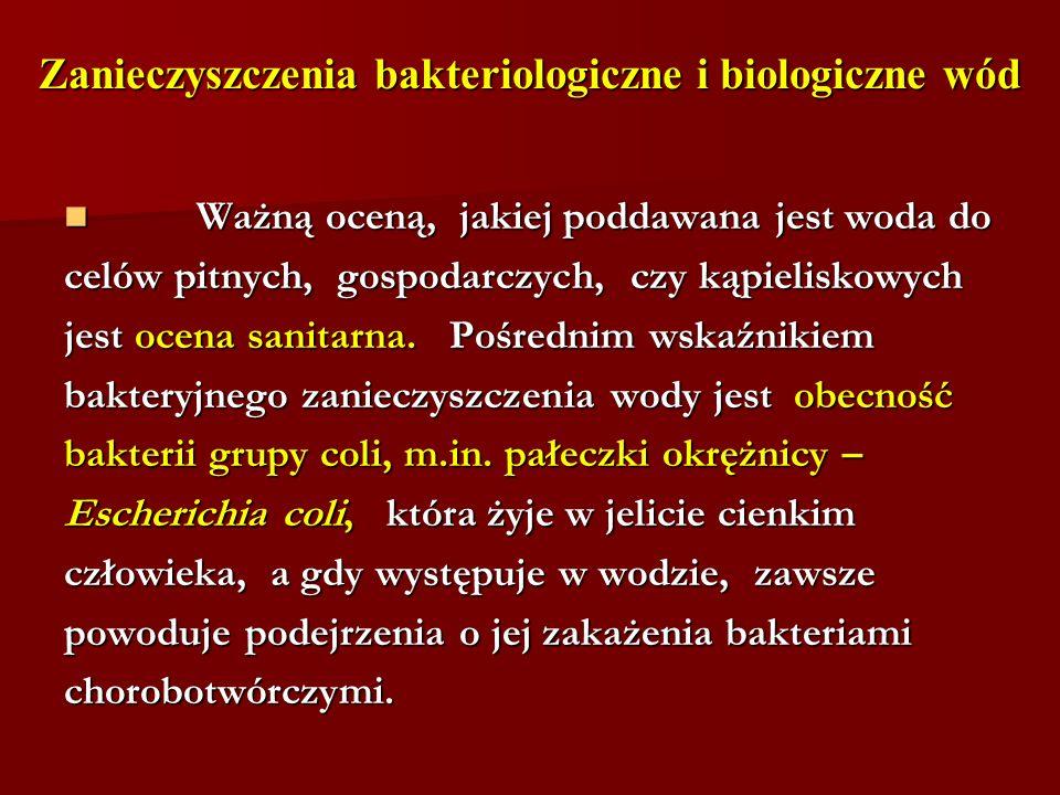Zanieczyszczenia bakteriologiczne i biologiczne wód