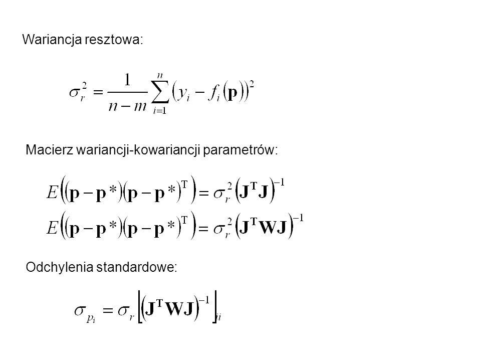 Wariancja resztowa: Macierz wariancji-kowariancji parametrów: Odchylenia standardowe: