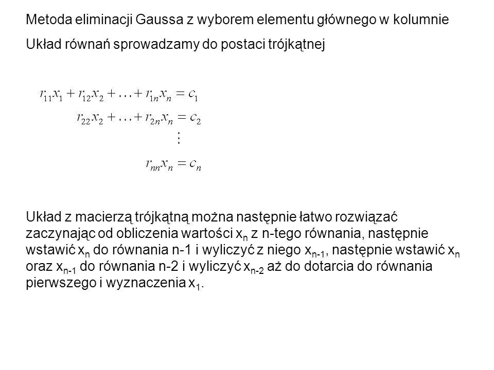 Metoda eliminacji Gaussa z wyborem elementu głównego w kolumnie