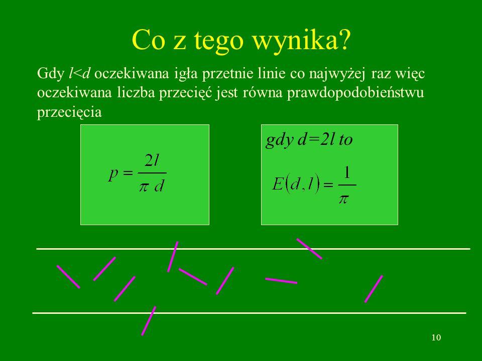 Co z tego wynika gdy d=2l to