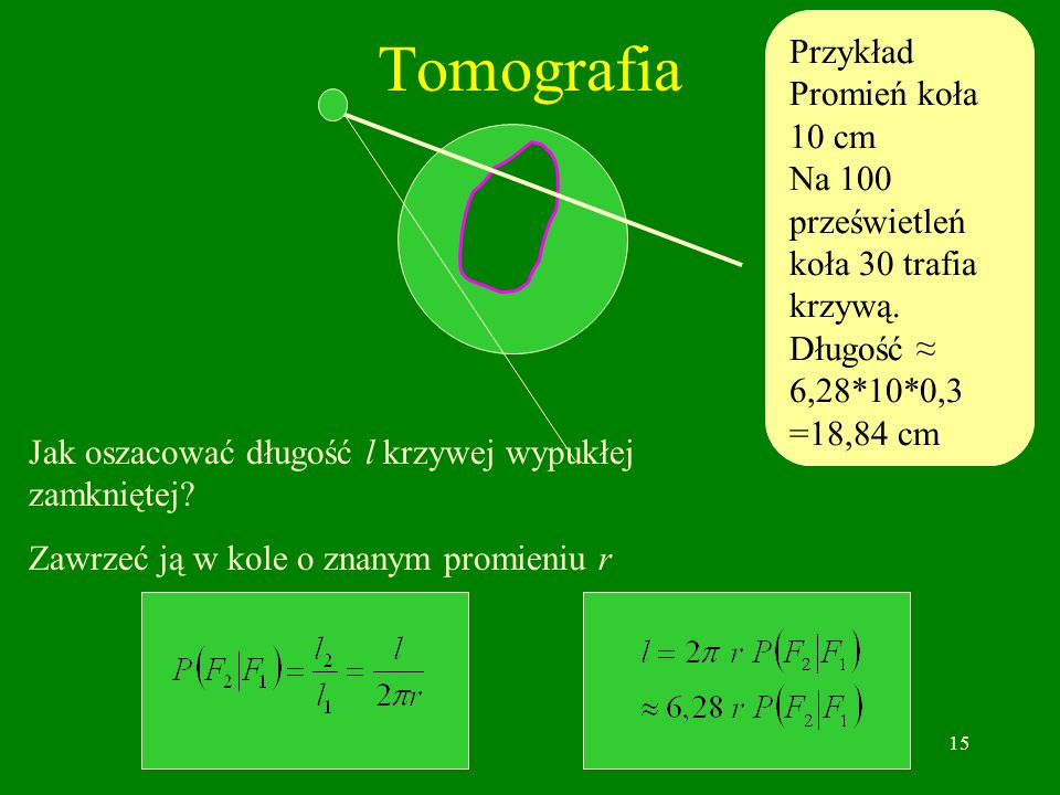 Tomografia Przykład Promień koła 10 cm