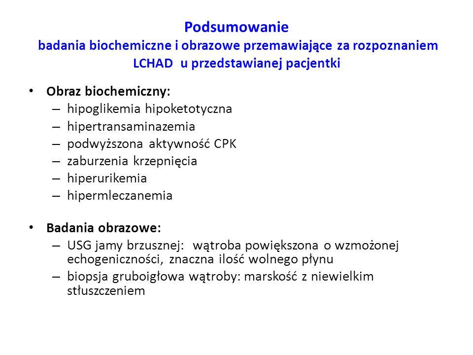 Podsumowanie badania biochemiczne i obrazowe przemawiające za rozpoznaniem LCHAD u przedstawianej pacjentki