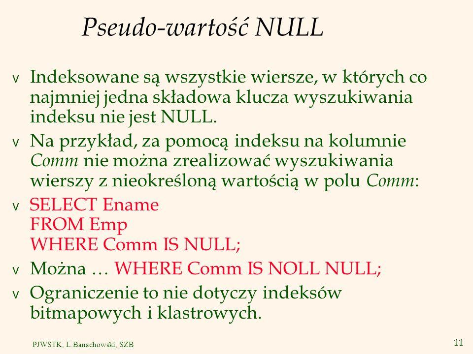 Pseudo-wartość NULL Indeksowane są wszystkie wiersze, w których co najmniej jedna składowa klucza wyszukiwania indeksu nie jest NULL.