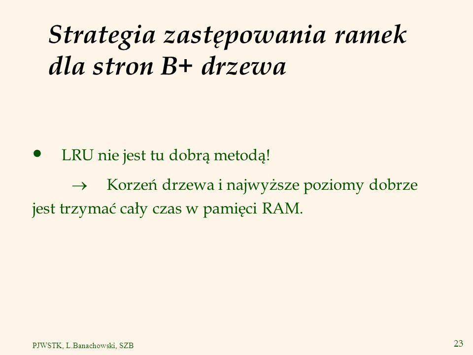 Strategia zastępowania ramek dla stron B+ drzewa