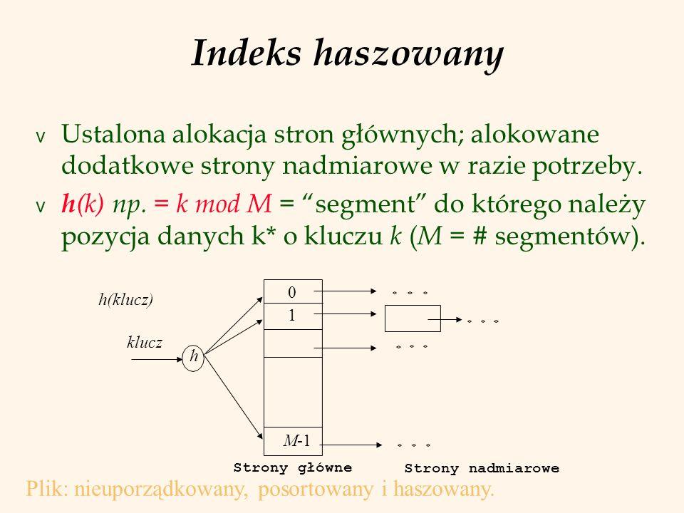 Indeks haszowany Ustalona alokacja stron głównych; alokowane dodatkowe strony nadmiarowe w razie potrzeby.