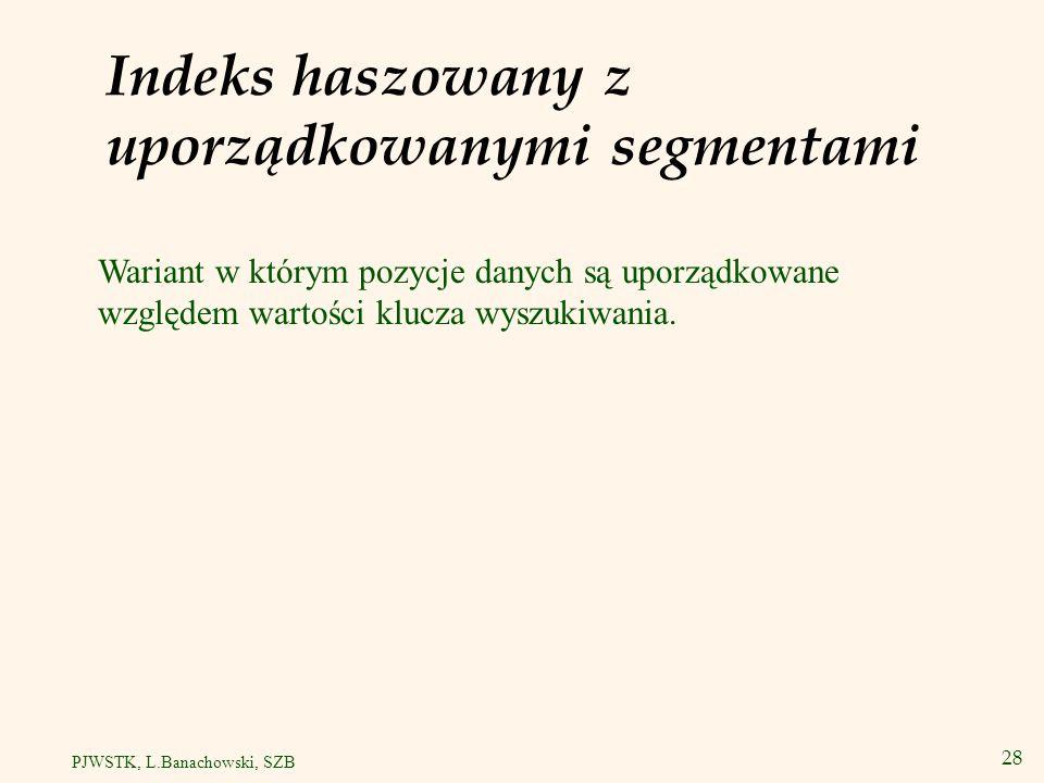 Indeks haszowany z uporządkowanymi segmentami