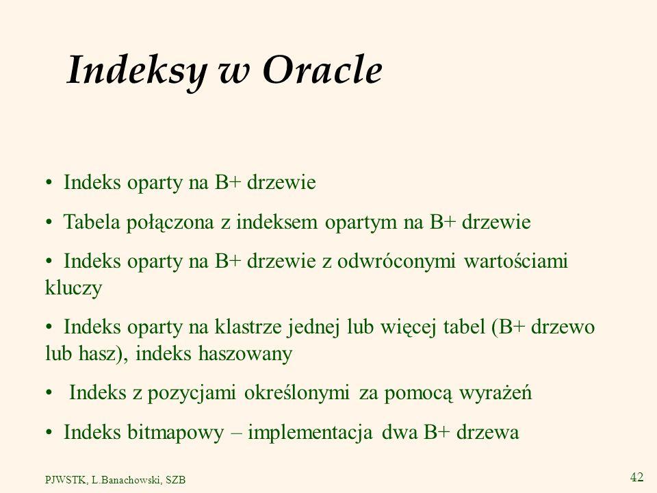 Indeksy w Oracle Indeks oparty na B+ drzewie