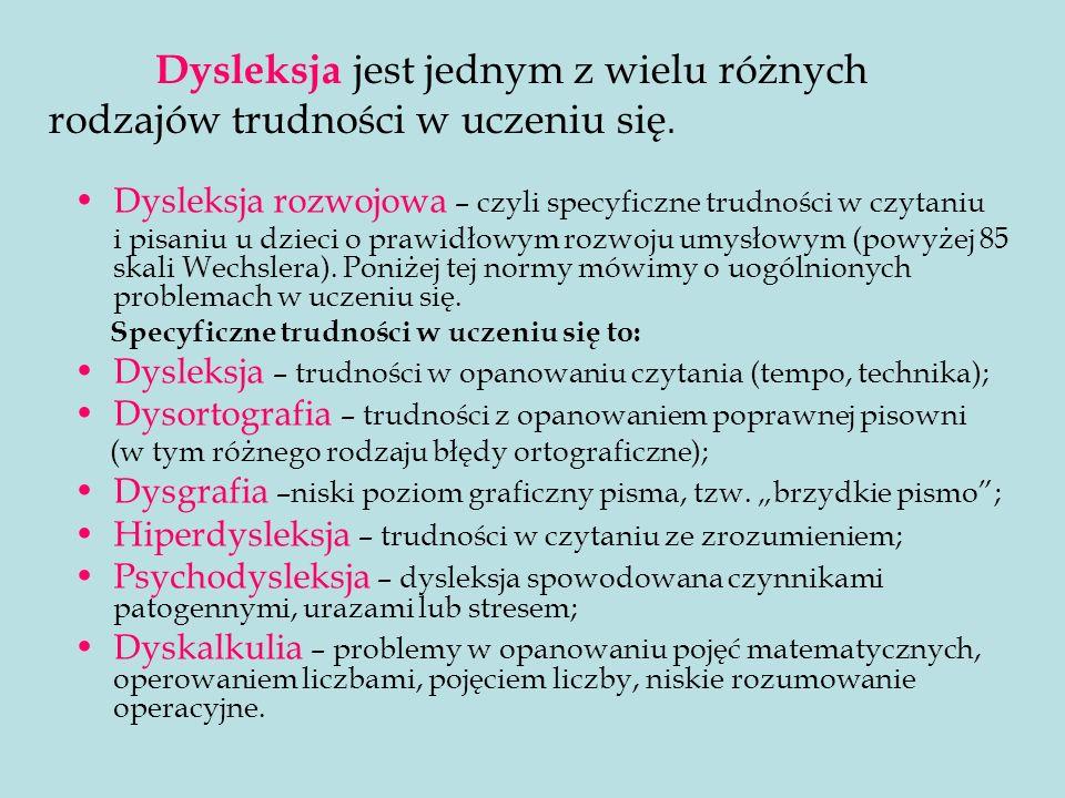 Dysleksja jest jednym z wielu różnych rodzajów trudności w uczeniu się.