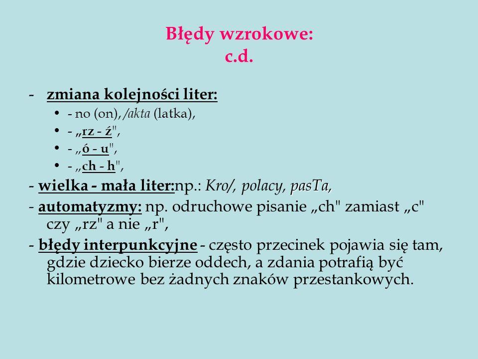 Błędy wzrokowe: c.d. zmiana kolejności liter:
