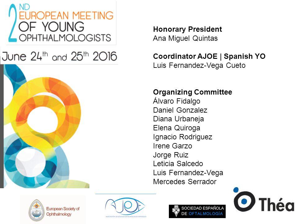 Honorary President Ana Miguel Quintas. Coordinator AJOE | Spanish YO. Luis Fernandez-Vega Cueto. Organizing Committee.