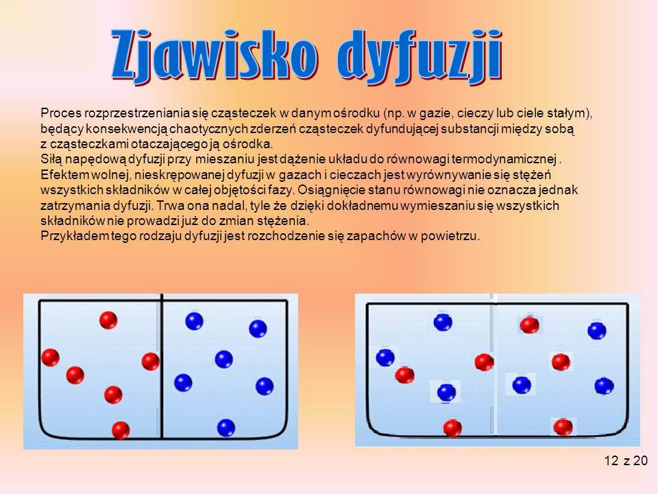Zjawisko dyfuzji Proces rozprzestrzeniania się cząsteczek w danym ośrodku (np. w gazie, cieczy lub ciele stałym),