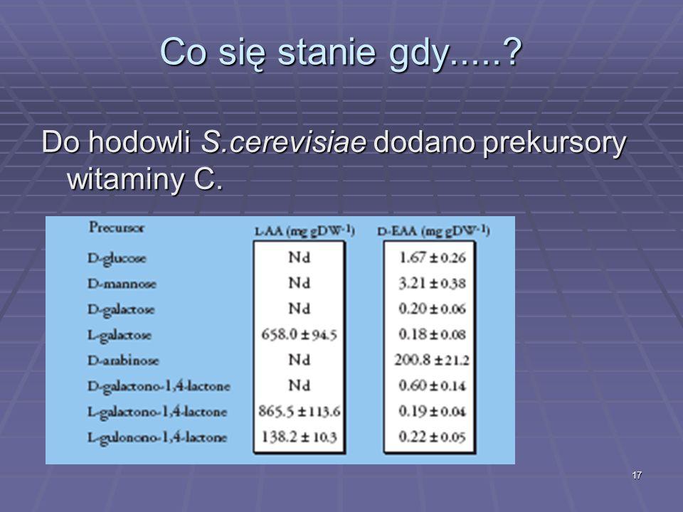 Co się stanie gdy..... Do hodowli S.cerevisiae dodano prekursory witaminy C.