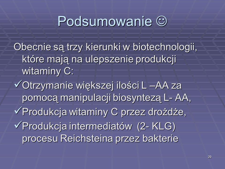 Podsumowanie Obecnie są trzy kierunki w biotechnologii, które mają na ulepszenie produkcji witaminy C: