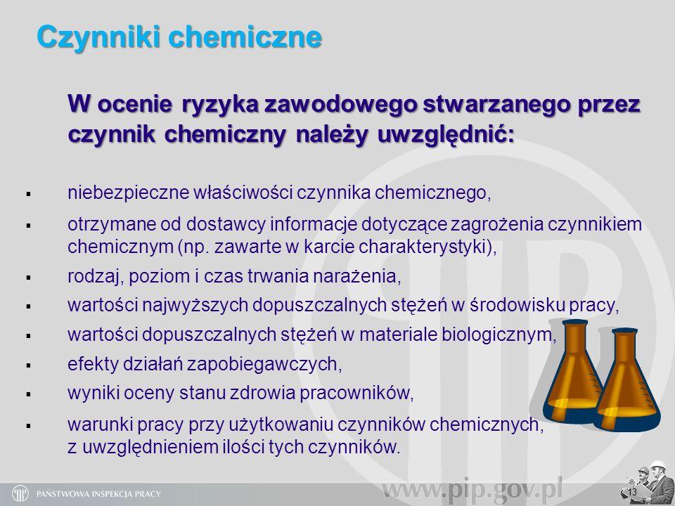 Czynniki chemiczne W ocenie ryzyka zawodowego stwarzanego przez czynnik chemiczny należy uwzględnić: