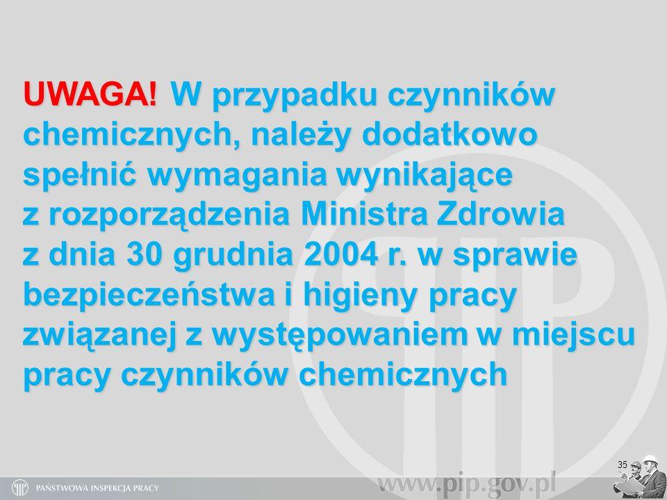 UWAGA! W przypadku czynników chemicznych, należy dodatkowo spełnić wymagania wynikające z rozporządzenia Ministra Zdrowia z dnia 30 grudnia 2004 r. w sprawie bezpieczeństwa i higieny pracy związanej z występowaniem w miejscu pracy czynników chemicznych