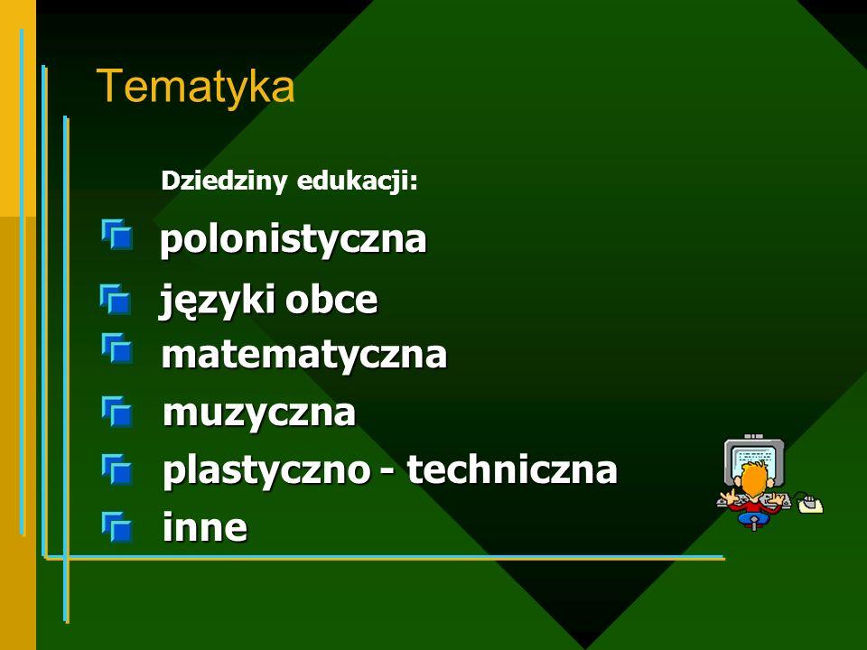 Tematyka polonistyczna języki obce matematyczna muzyczna
