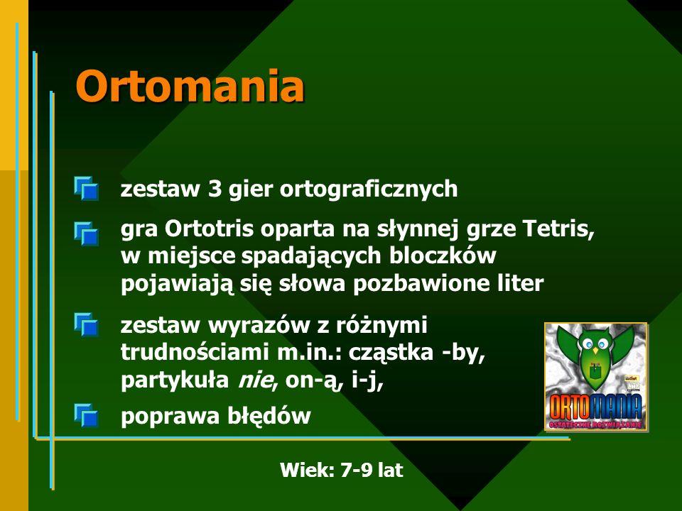 Ortomania zestaw 3 gier ortograficznych