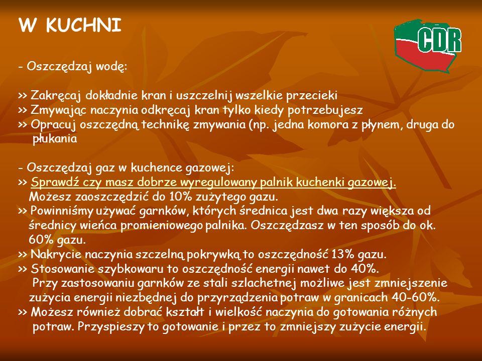 W KUCHNI - Oszczędzaj wodę: